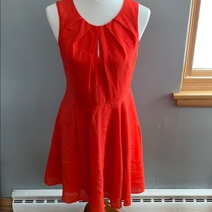 Express Red Key Hole Fit & Flare Dress